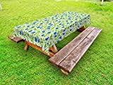 Ambesonne Fruits Outdoor Tablecloth, Flowering Blueberry Blossoms Vivid Leaf Branches Nature Plants Design, Decorative Washable Picnic Table Cloth, 58' X 120', Blue Lime