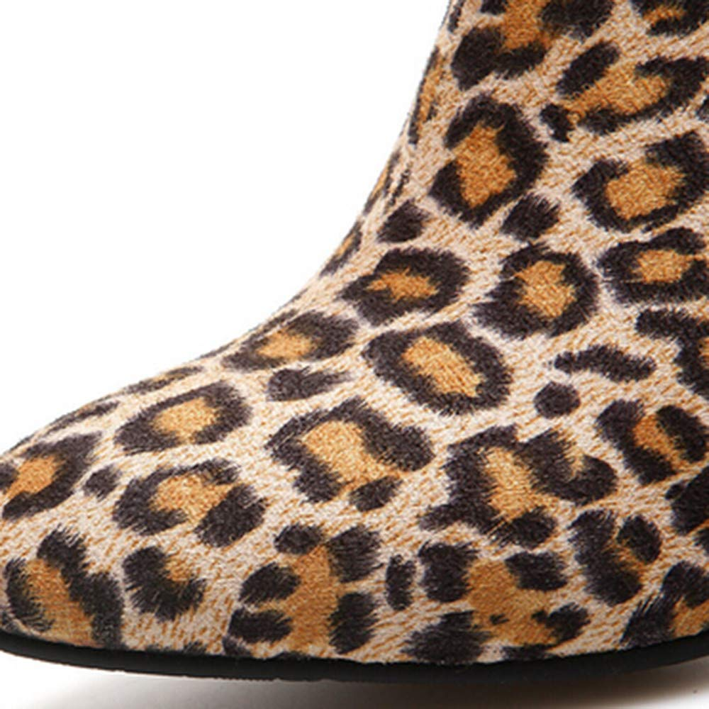Shoes,AIMTOPPY Womens High-Heeled Button Ankle Boots Leopard-Printed Shoes Plush Boots