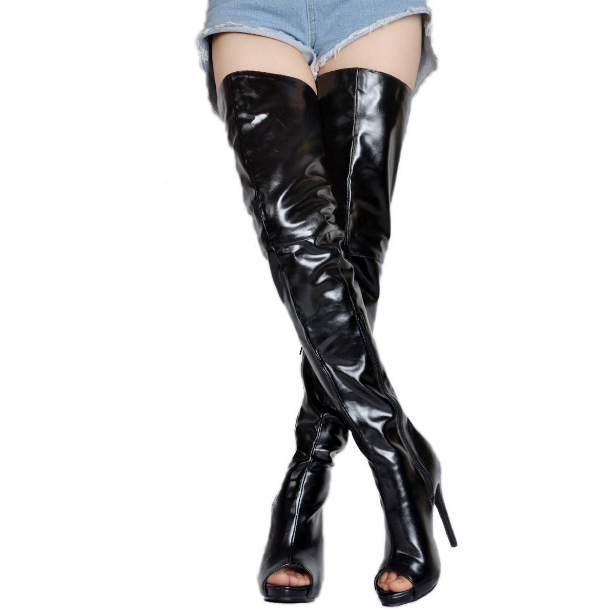 Kolnoo Damen Damen Damen BFCM Handgemachte High Heel Stiefel Peep-Toe Sexy Oberschenkel Stiefel Mode Schuhe 1c5076