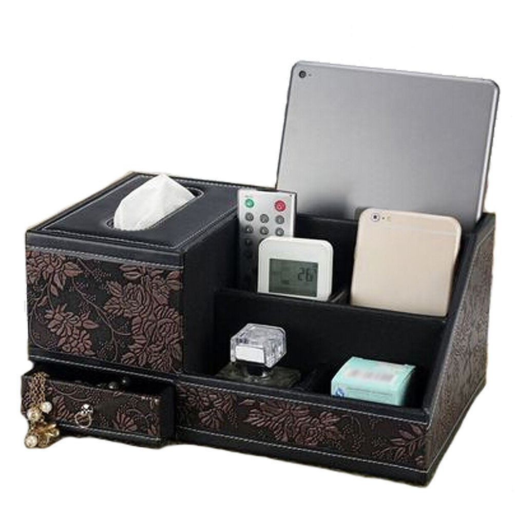 JHGJ Storage Compartment Multifunctional Desk Organizer Desktop Organizer Card/Pen/Pencil/Mobile Phone/Remote Control Holder Caddy Office Supplies Desktop Stationery Storage Box (Flower-Brown)
