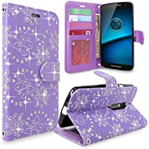 Droid Maxx 2 Case, Moto X Play Case, Cellularvilla [Stand Feature] [Card Slots] Premium Pu Leather Flip Wallet Case Cover For Motorola Droid Maxx 2 XT1565 / Moto X PLAY XT1562 (Purple Glitter)
