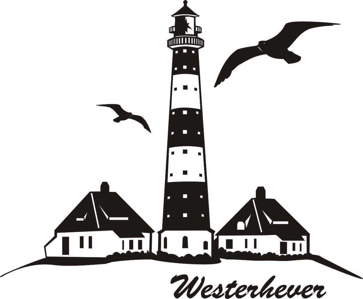 Wandtattoo Westerhever Leuchtturm 740 Mm X 600 Mm M070 Schwarz