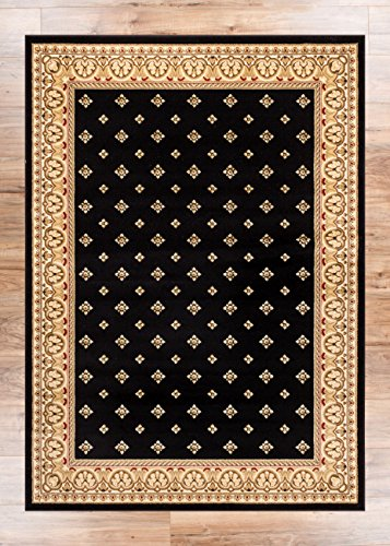 Noble Palace Black French European Formal Traditional Area Rug 5x7 ( 5'3