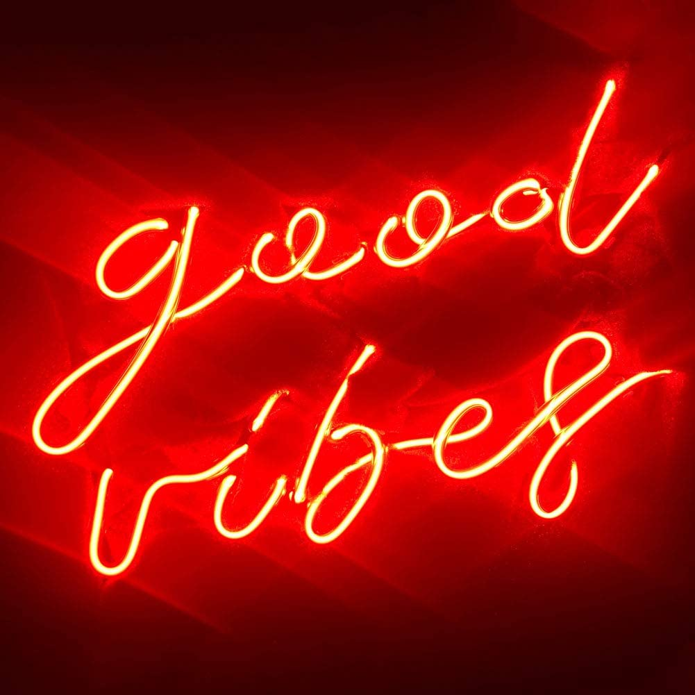 LiQi ' Good Vibes ' Red Real Glass Handmade Neon Wall Signs for Home Decor Wall Light Room Decor Home Bedroom Girls Pub Hotel Beach Cocktail Wedding Vibes Good Vibes Wall Decor (14