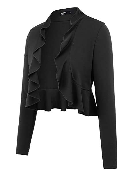 c1cd783023 BOSBARY Women s Open Front Cropped Cardigan Lone Sleeve Casual Shrugs Jacket  Draped Ruffles Lightweight Sweaters Black