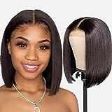 Amanda Hair Short Straight Bob Wigs Brazilian Virgin Human Hair 4x4 Lace Front Wigs 130% Density for Lace Closure Wigs…