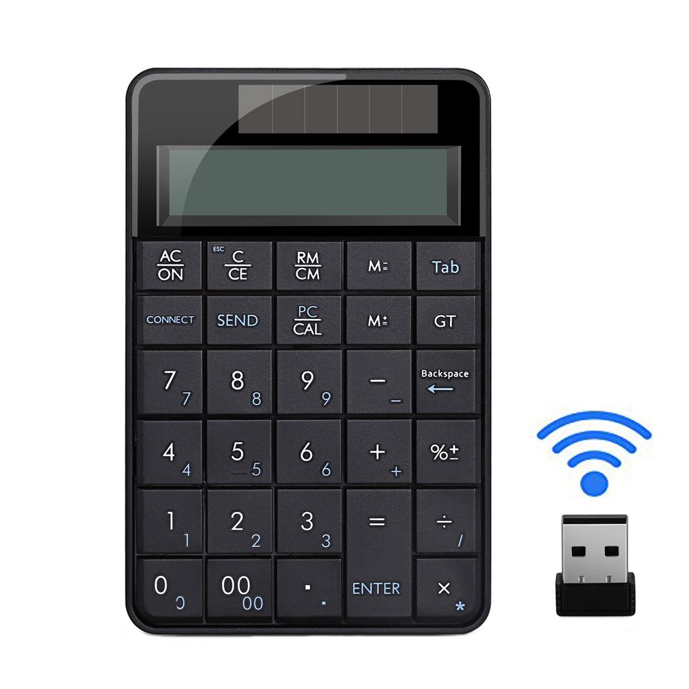 NAMEO Wireless Numeric Keypad with Calculater Function USB Number Pad and Solar Power for Laptop Desktop PC Windows XP
