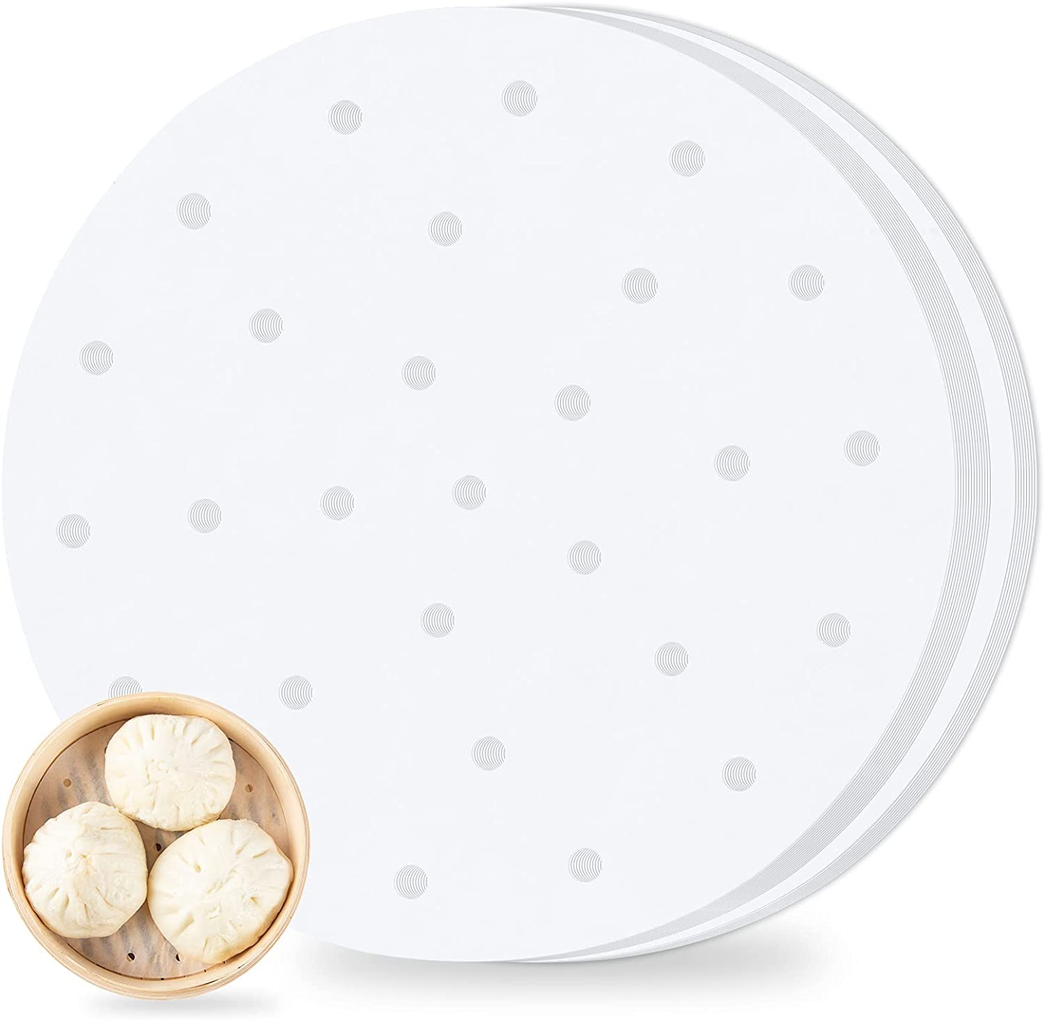 Air Fryer Perforated Parchment Paper 100pcs ,7inch Air Fryer Liner,Bamboo Steamer Paper,Premium Perforated Parchment Steaming Papers, Non-stick Steamer Mat, for Air Fryers/Baking/Cooking(7inch)
