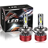 TURBOSII 2Pack H4/9003/HB2 LED Headlight Bulbs Conversion Kit DOT Approved Super Bright COB Chips 6000LM 6500K Cool White Hi/Lo Beam- Halogen Or Hid Bulbs Replacements,1 Year Warranty
