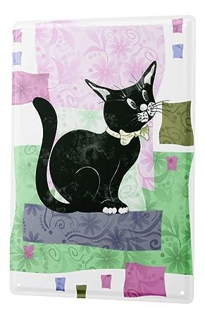 Decoración Gato Cartel de chapa Placa metal tin sign gato negro con el arco Letrero De Metal 20X30 cm: Amazon.es: Hogar