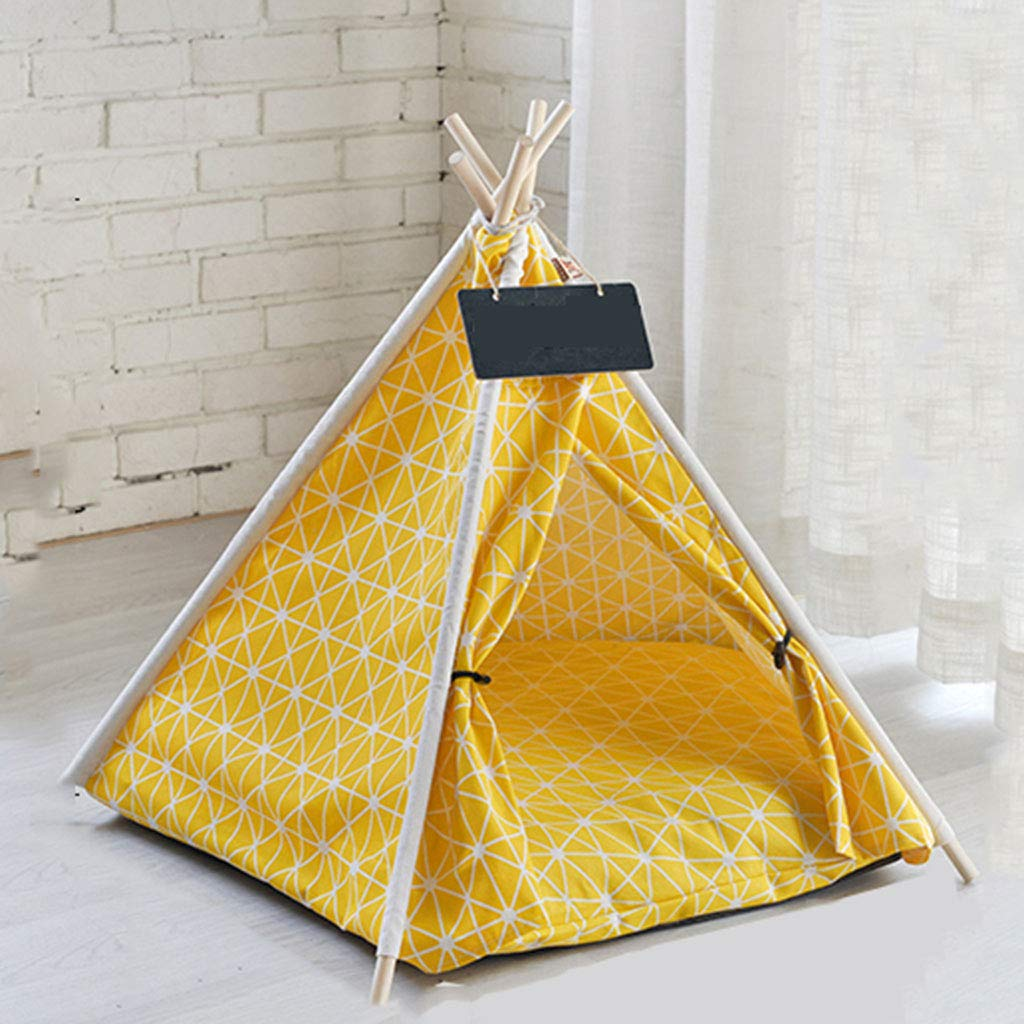 D Junphsion Pet Play House Fully Enclosed, Pet Tent Bed Four Corners, Pet Tent House Portable Folding, Small Animals Bed House Pine Wood Frame Safety Shelter for Dog Cat,D