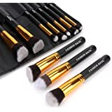 Makeup Brushes Set- Professional 10Pcs Premium Kabuki Essential Makeup Brushes with Case Prime Cosmetics Tools for Face Eye Cut Travel Makeup Bag Included