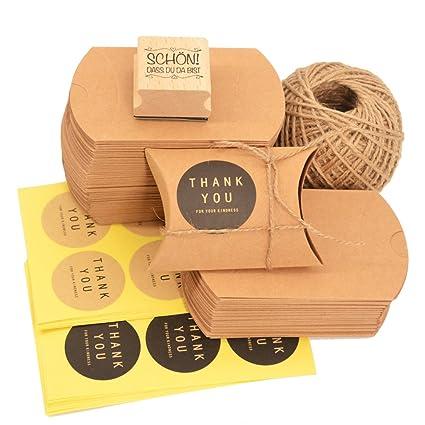 Okaytec Set de Cajas Pequeñas para Regalos - 100 Bolsas de Regalo de Papel Kraft 7 X 9 cm & Cuerda de Yute Natural Vintage 60m & 102 Etiqueta Adhesiva ...