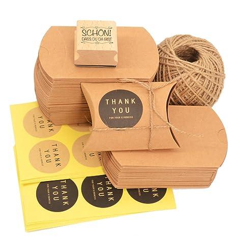 Okaytec Set de Cajas Pequeñas para Regalos - 100 Bolsas de Regalo de Papel Kraft 7 X ...