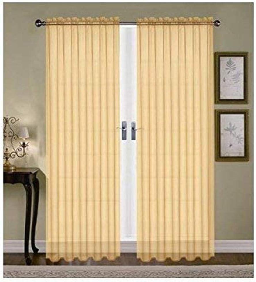 Editex Home Textiles Monique Sheer Window Panel, 55 by 95-Inch, Neon Yellow
