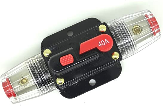 EBTOOLS 12V Circuit Breaker,12-42 VDC Heavy Duty Car Auto-reset Inline Circuit Breaker Self-recovery Fuse 50A