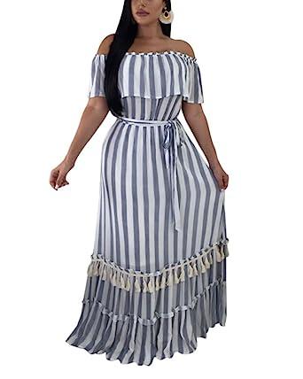 eb2d5e0cca0 Gamery Women Cotton Off Shoulder Stripes Maxi Long Dresses Summer Beach  Blue Small