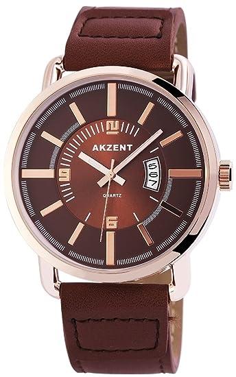 Reloj De Hombre Acento Con Piel imitations pulsera color marrón oro rosa moderno analógico de cuarzo Hombre Reloj de pulsera: Amazon.es: Relojes