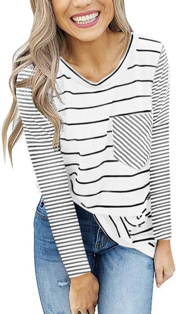Blusas De Mujer Camisa Algodón Blusa Mujer Elegante Manga Larga Camisa Suelta Mujer Casual OtoñO Invierno Camisetas para Mujer Camisa Casual con Cuello Redondo Suelta Camisa Básica A Rayas Camisetas: Amazon.es: Ropa