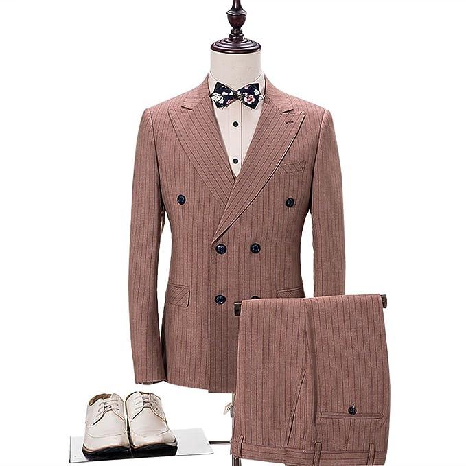 Amazon.com: Para hombre 3 piezas Doble Breasted Brown Check ...