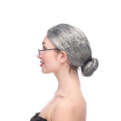LI LU SHOP Vieja Señora Peluca Blanca Peluca Vieja Señora Vestir Props Head Show