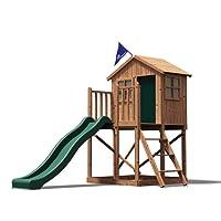 Dunster House Playhouse Club House Kids Wooden Play Den Slide Set Lil Lodge™