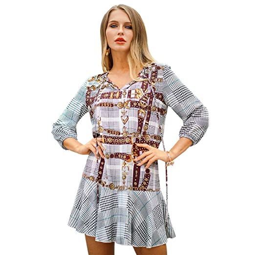 4d74af54d6b7 Xmeden Women's 2019 New Spring Leopard Print Tunic Mini Dress V Neck at  Amazon Women's Clothing store: