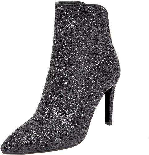 LUXMAX Womens Sequin Glitter High Heel