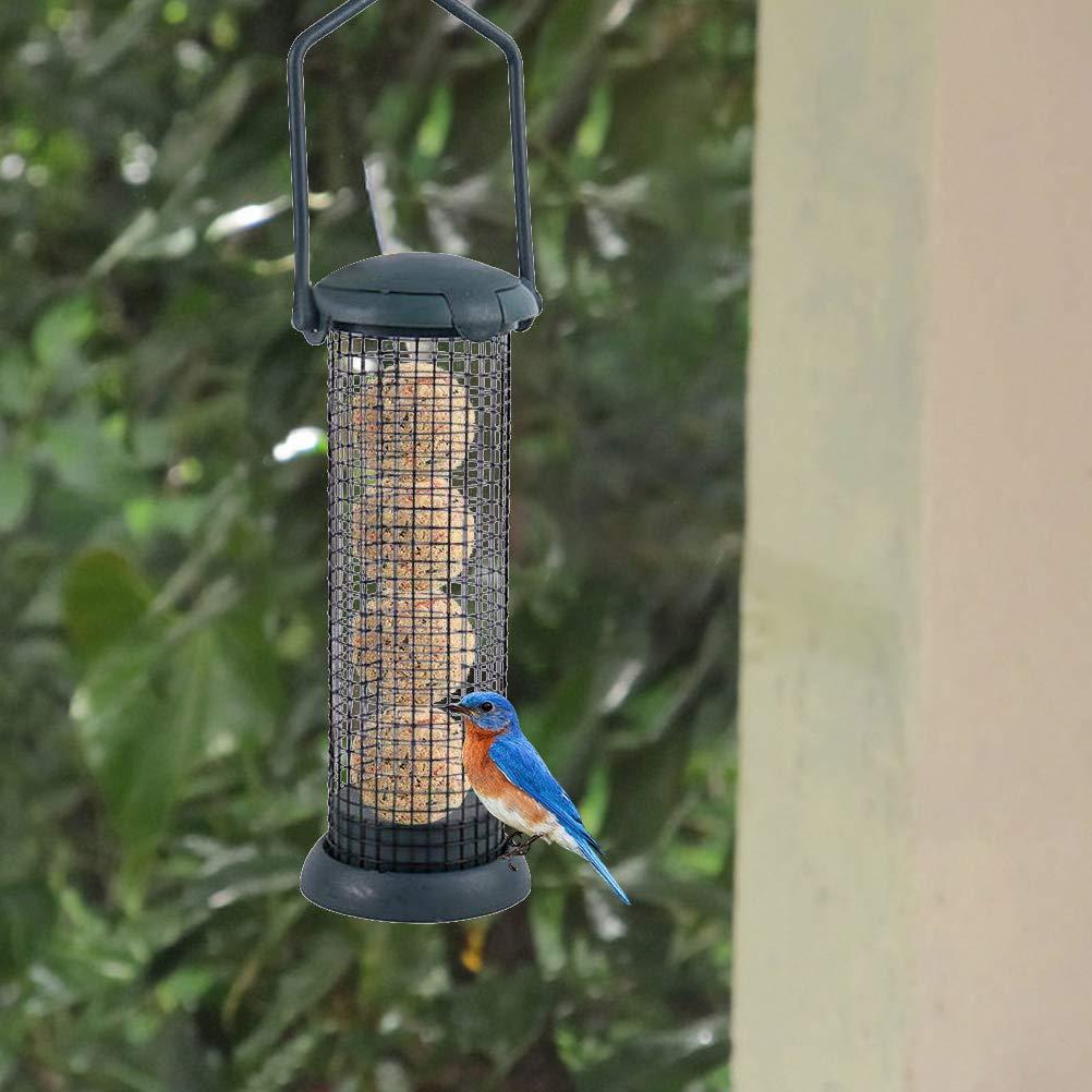 Alimentador de P/ájaros de Alambre de Hierro Contenedor de Alimentos para P/ájaros de Jard/ín Comedero Colgante de Aves Silvestres Dispensador de Alimentos con Bolas de Semillas