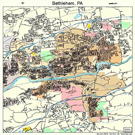 Amazoncom Large Street Road Map of Bethlehem Pennsylvania PA