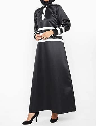 نخبه معطف الرداء ستان اسود -نساء