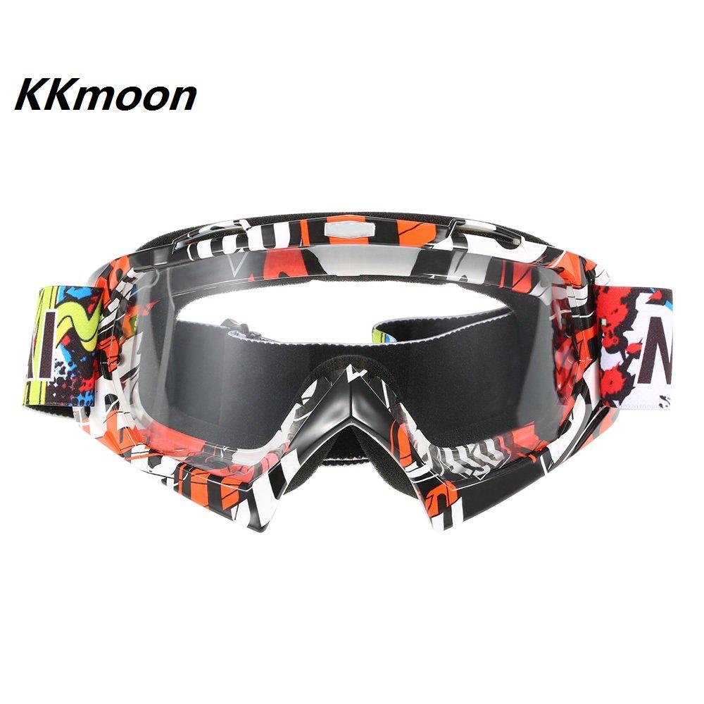 KKmoon Moto Da Corsa Equitazione Ciclismo Occhiali Esterno Sciare Vento-prova Anti-nebbia Bicchiere Trasparenti Lenti