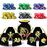 d and d dice - ENTOY Dnd Dice Set 6 x 7 Dungeons and Dragons Dice Set for D&D Dice Games RPG MTG Table Games With 7 Black And Golden Drawstring Bag