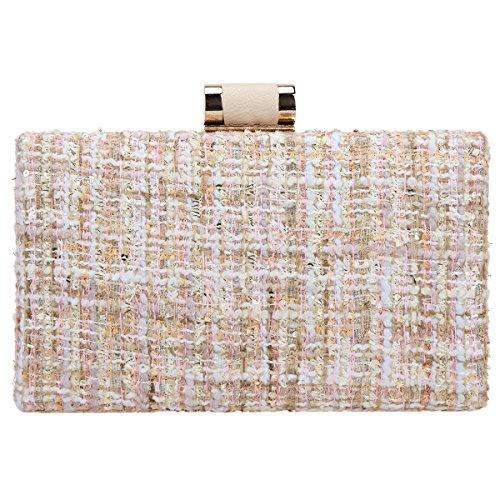 Clutch Weave Women Beige Clutches Bonjanvye And Designer Fabric Bags Evening For xXOdnZ6
