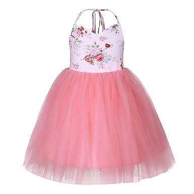 734b40af9 BabyPreg Baby Girl Summer Rose Printed Sling Dress Outfits Wedding Party Birthday  Tutu Dress: Amazon.co.uk: Clothing