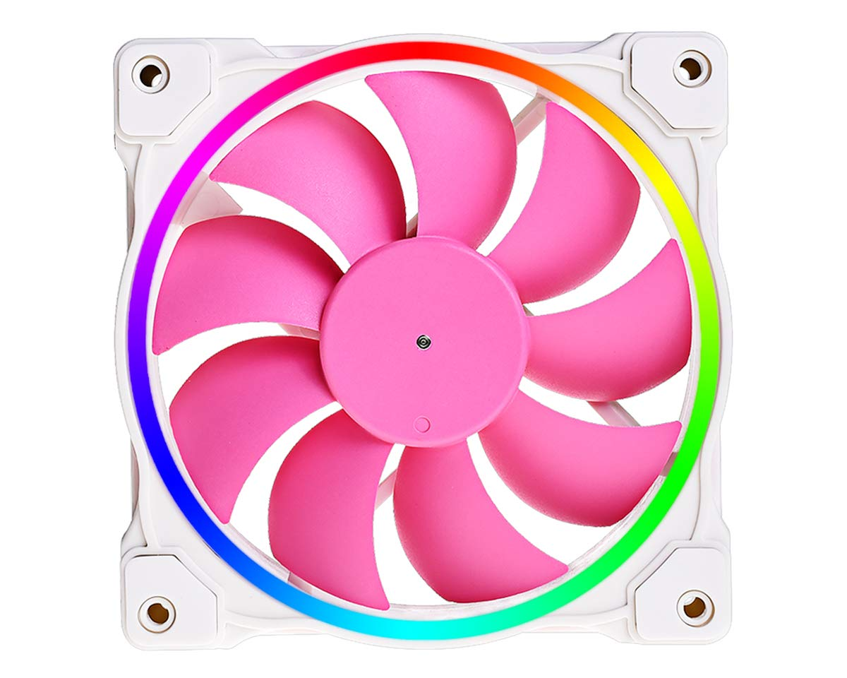 ID-COOLING ZF-12025-PINK Pink Addressable RGB Case Fan, 3pin 5V ARGB MB Sync, for Case Fan/Radiator Fan