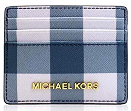 8df95a0c9146 Image Unavailable. Image not available for. Color  Michael Kors Jet Set  Travel LG Card Holder Navy Denim White