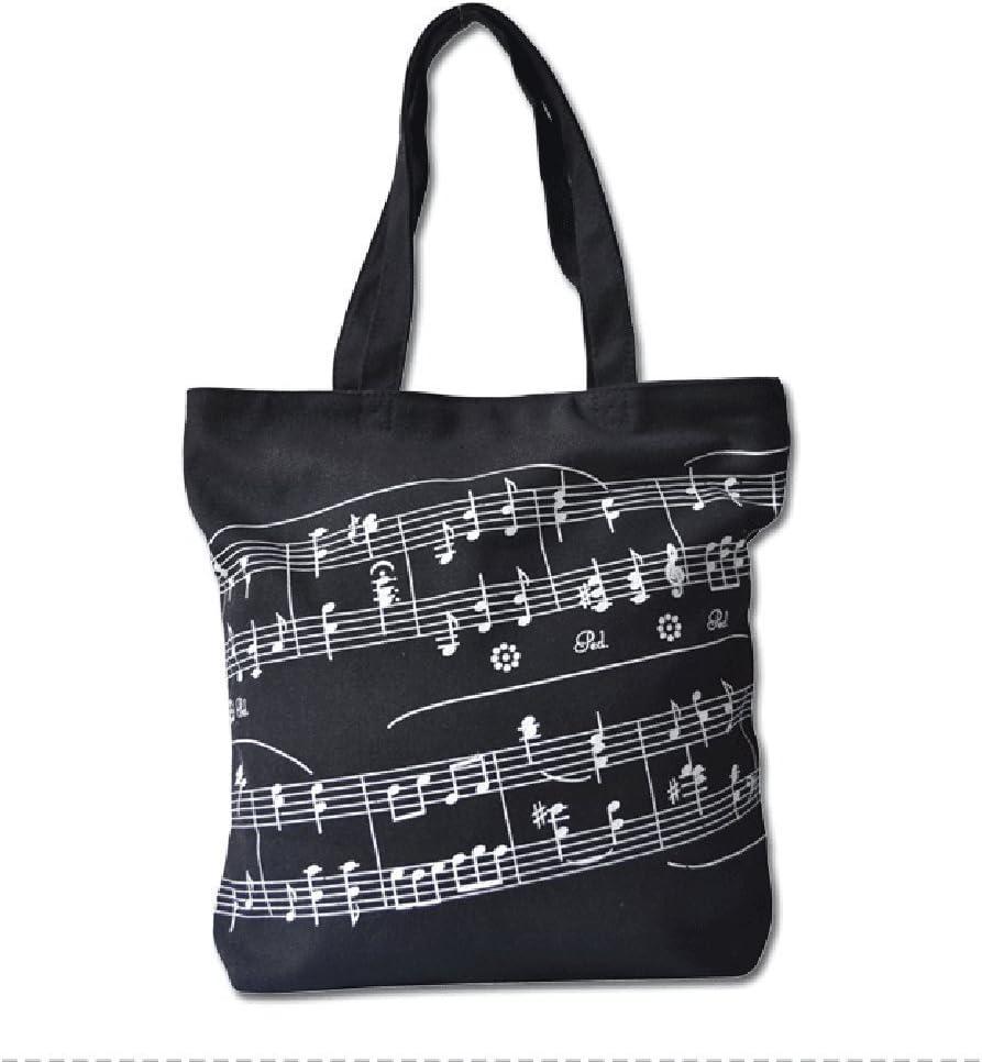 Sound Harbor Music Element Print Canvas Tote Handbag Shoulder Shopping Bags(Black -Music Score)