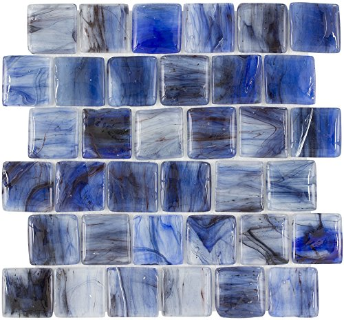 MTO0117 Modern Pillowed Squares Blue Black Glossy Translucent Glass Mosaic Tile ()