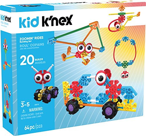 K'NEX Kid K'Nex - Zoomin' Rides Building Set - 64Piece - Ages 3 & Up Preschool Educational Toy Building ()