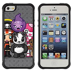 Hybrid Anti-Shock Defend Case for Apple iPhone 5 5S / Cute Creatures Panda