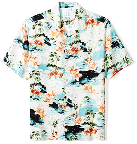 28 Palms Men's Relaxed-Fit Short-Sleeve 100% Silk Hawaiian Shirt, White Tropical Scenic, X-Large (Scenic Print Shirt Hawaiian)
