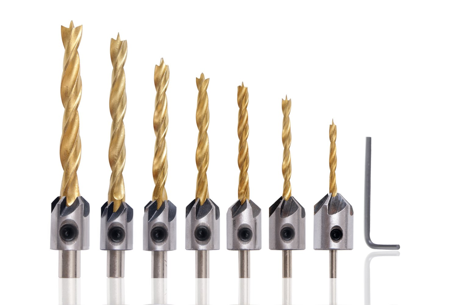 7Pcs 5 Flute 3-10mm Woodworking Countersink Drill Bits Set by SUYIZN Woodworking Chamfer Three-Pointed Titanium Coated High Quality Carbon Steel Drill with One Free Hex Key
