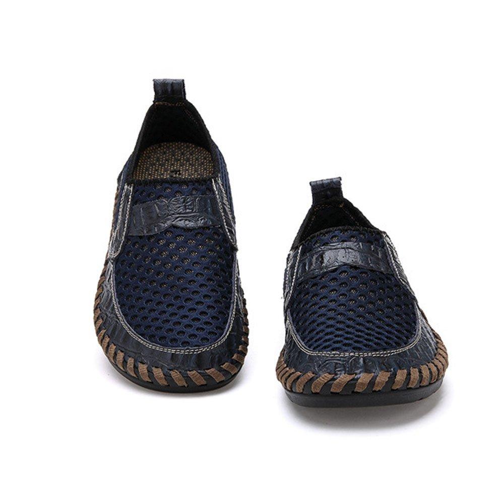 HAOYUXIANG Estate Hollow Hollow Hollow Mesh panno tendenza manuale manuale scarpe pigri maglia scarpe di grandi dimensioni scarpe da uomo casual (colore   Blu, dimensioni   44) 5f607f