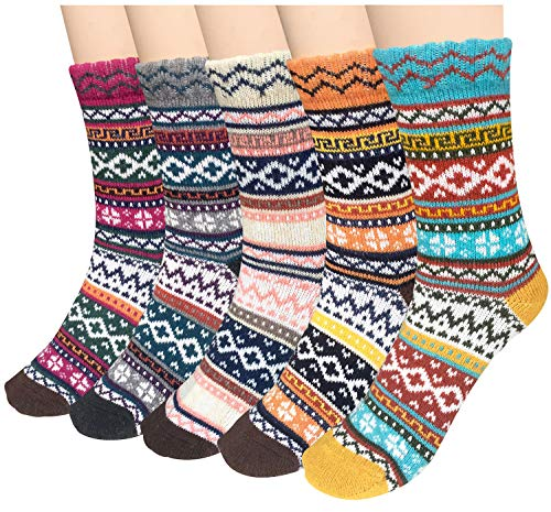 5 Pairs Womens Cold Weather Soft Warm Thick Knit Crew Casual Winter Wool Socks,Multicolor 01,One Size