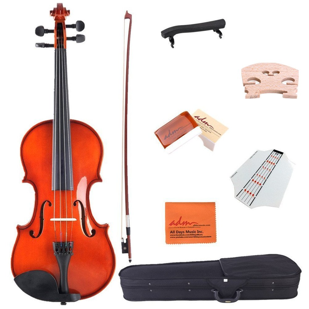 ADM Starter Acoustic Violin 1/4 Size Handcrafted Solid Wood Student Kits, Red Brown by ADM