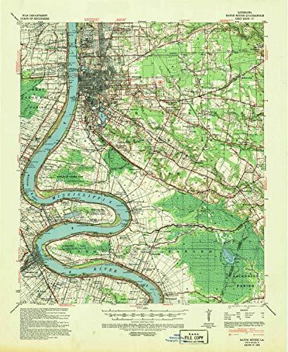 YellowMaps Baton Rouge LA topo map, 1:62500 Scale, 15 X 15 Minute, Historical, 1939, Updated 1947, 21.9 x 17.9 in - Tyvek (Aubin Rouge)