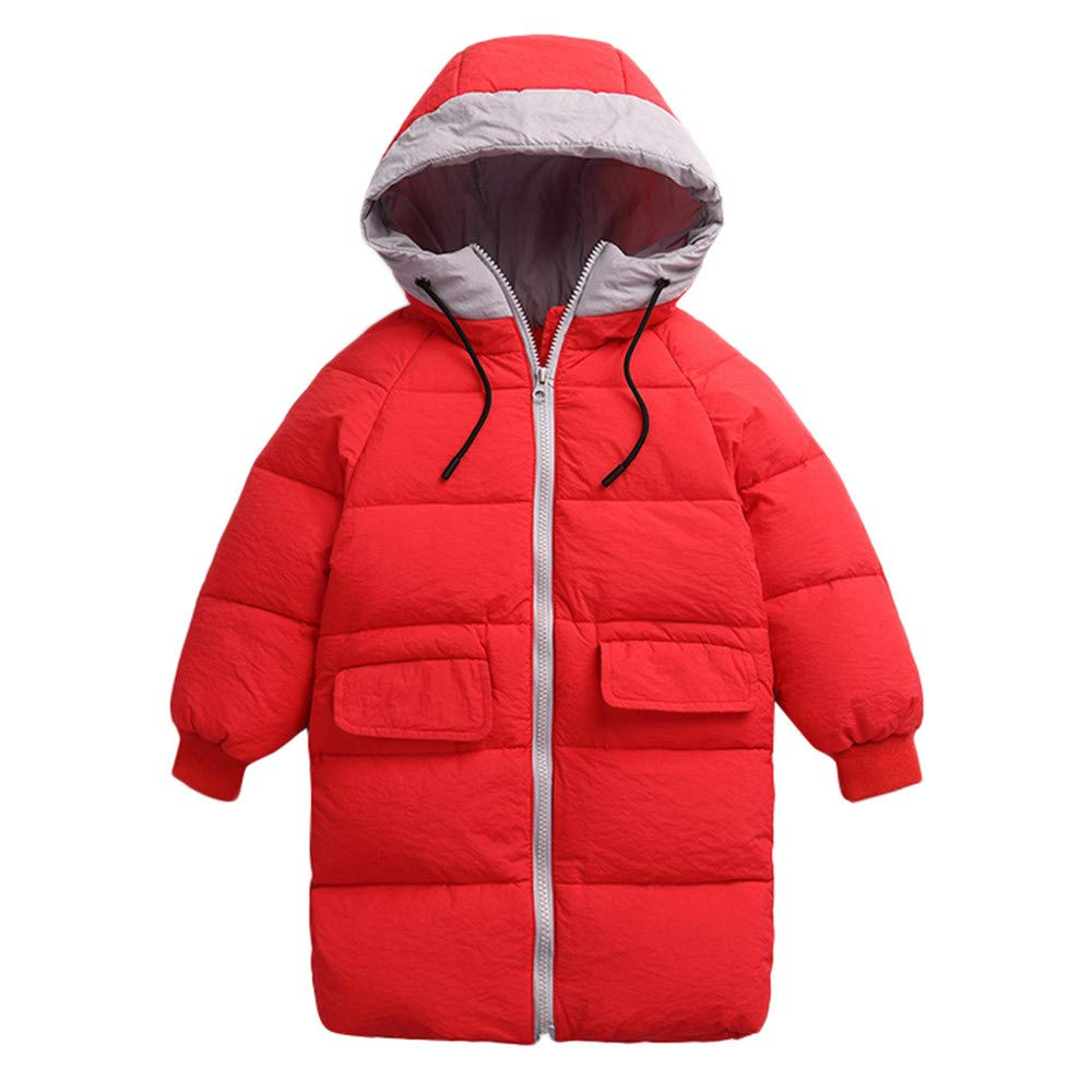 Baby Girls Long Down Coats Lightweight Outwear Winter Hooded Jackets 3-8 Years