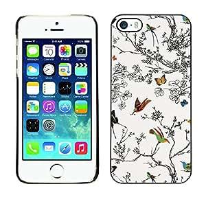 Cubierta de la caja de protección la piel dura para el Apple iPhone 5 / 5S - trees painting drawing nature white