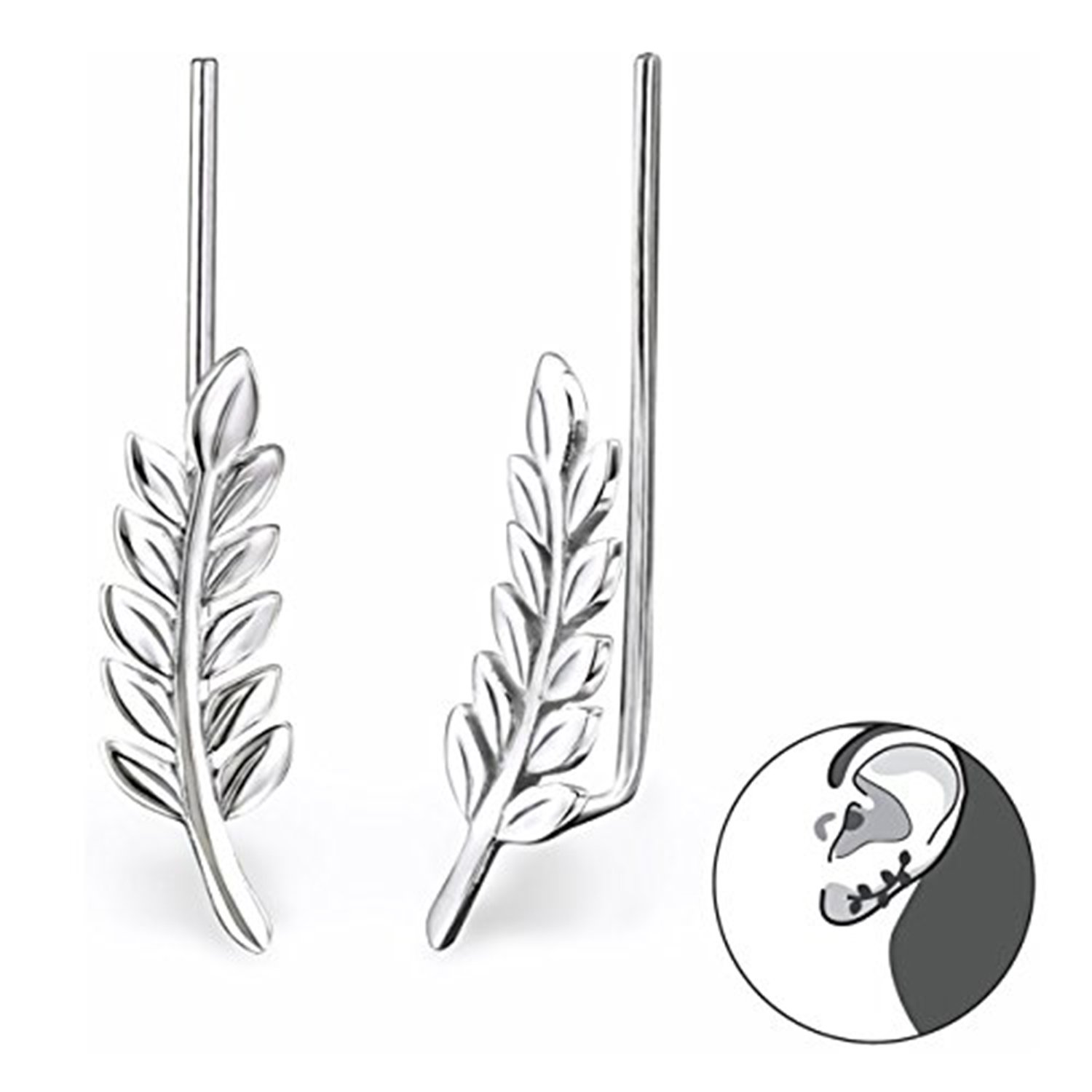 Best Wing Jewelry .925 Sterling Silver Leaf Ear Pin/Ear Climber/Ear Crawler Earrings (028625) by Best Wing Jewelry (Image #2)